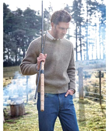 Lambswool Whitby Rib Jumper - Green