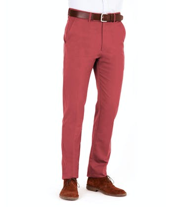 Flat Front Chinos - Cranberry