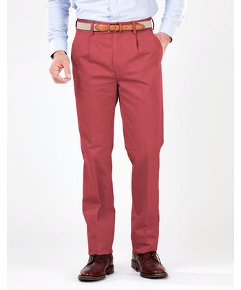 Pleated Front Chinos - Cranberry