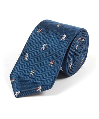 Cricketers on Navy - Woven Silk Tie