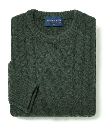 Aran Crew Neck - Dark Green
