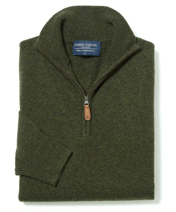 Lambswool Jumper - Half Zip - Dark Green