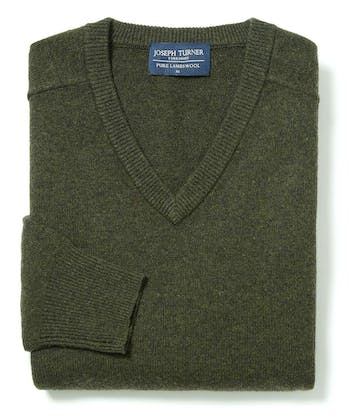 Lambswool Jumper - V Neck - Dark Green