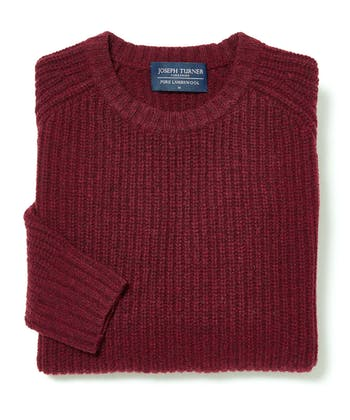 Lambswool Whitby Rib Jumper - Dark Red