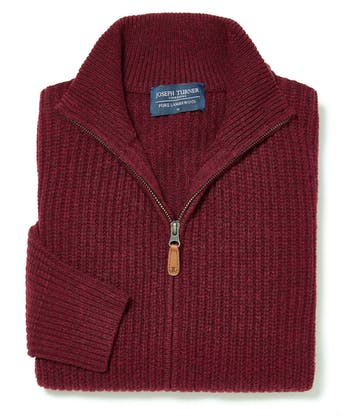 Lambswool Whitby Zip Cardigan - Dark Red