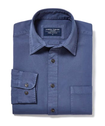 Cotton Twill Shirt - Denim Blue