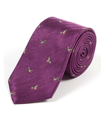 Ducks on Purple - Woven Silk Tie