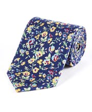 Multi Floral on Navy - Printed Silk Tie