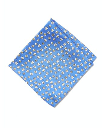 Silk Pocket Square - Flowers on Blue