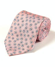 Flowers on Pink - Printed Silk Tie