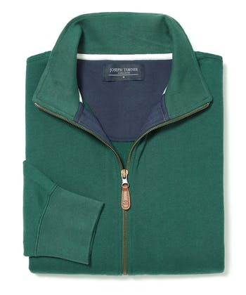 Full-Zip Jersey Sweatshirt - Forest