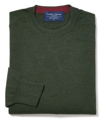 Merino Jumper - Crew Neck - Forest Green