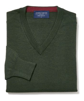 Merino Jumper - V Neck - Forest Green
