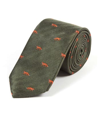 Foxes on Dark Green - Woven Silk Tie