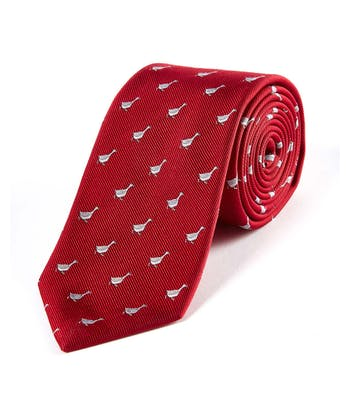 Geese on Red - Woven Silk Tie