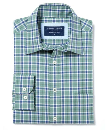 Brushed Cotton Check Shirt - Green/Blue