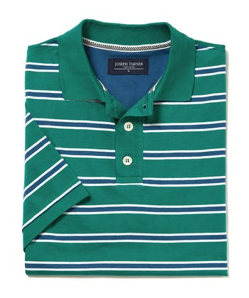 Striped Jersey Polo Shirt - Green/Blue/White