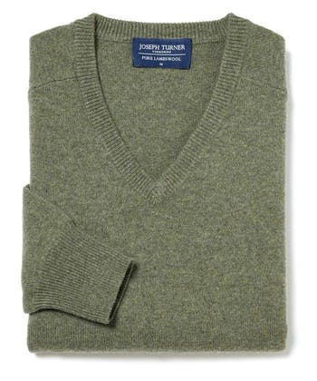 Lambswool Jumper - V Neck - Green