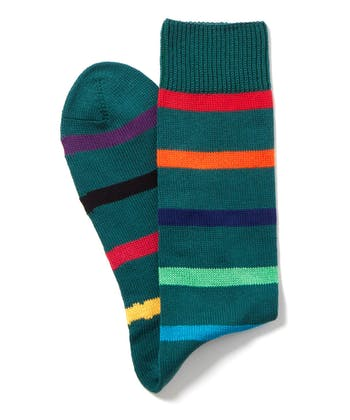 Multi-Stripe Cotton Socks - Green Multistripe