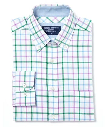 Button-Down Oxford Shirt - Green/Purple/Blue