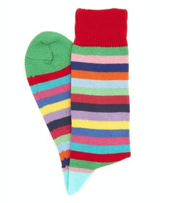Striped Cotton Socks - Green Toe Multi Stripe