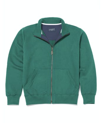 Full-Zip Jersey Sweatshirt - Green