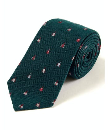 Jockey Silks on Green - Wool/Silk Tie