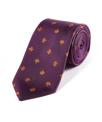 Leaves on Magenta - Woven Silk Tie