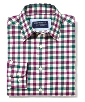 Brushed Cotton Check Shirt - Magenta/Green