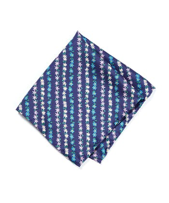 Silk Pocket Square - Navy Floral