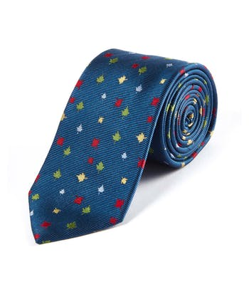 Multicolour Leaves on Navy - Woven Silk Tie