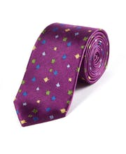 Multicolour Leaves on Purple - Woven Silk Tie