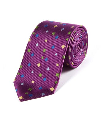 Multicolour Leaves on Magenta - Woven Silk Tie