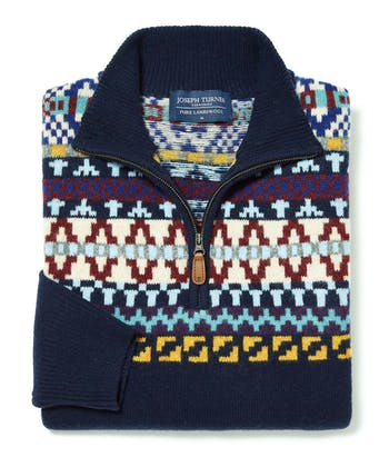 Fair Isle Half-Zip - Navy
