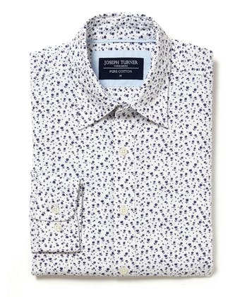 Cotton Print Shirt - Navy Floral on White