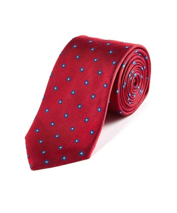Navy Flowers on Red - Woven Silk Tie