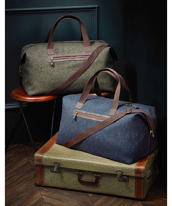 Travel Holdall - Navy Herringbone