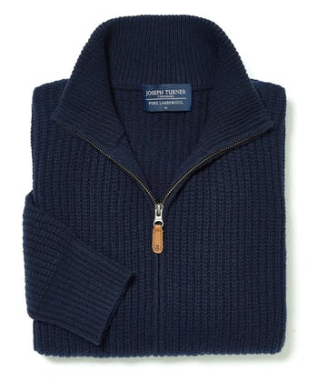 Lambswool Whitby Zip Cardigan - Navy