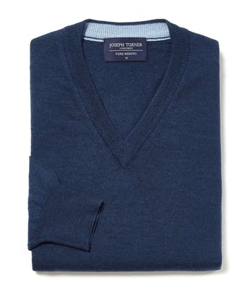 Merino Jumper - V Neck - Navy
