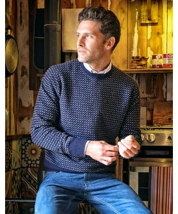 Nordic Crew Neck Jumper - Navy