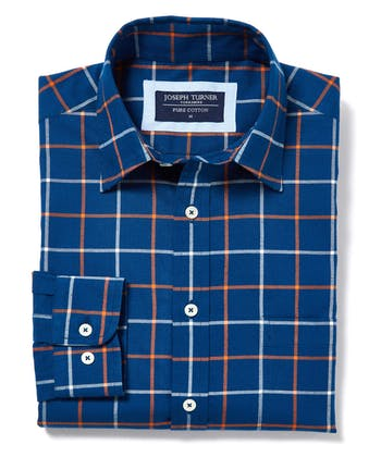 Brushed Cotton Check Shirt - Navy/Orange