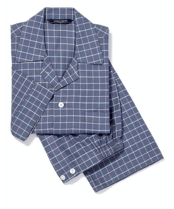 Pyjamas - Navy/Pink Check (Brushed)