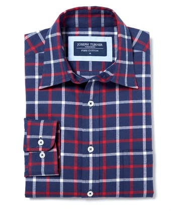 Brushed Cotton Check Shirt - Navy/Red