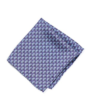 Silk Pocket Square - Navy/Sky Fan