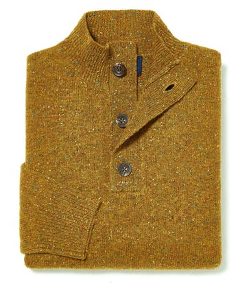 Donegal Jumper - Button Neck - Ochre