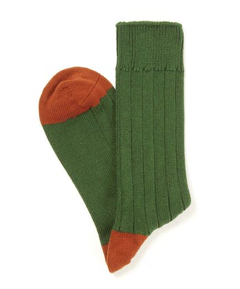 Heel & Toe Cotton Socks - Olive/Orange