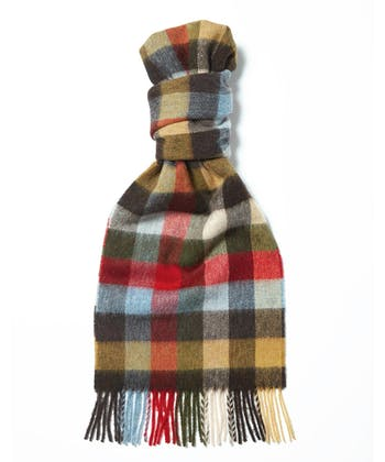 Lambswool Scarf - Olive/Red
