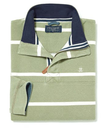 Washed Pique Half-Zip Sweatshirt - Olive Stripe