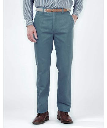 Flat Front Chinos - Petrol Blue