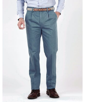 Pleated Front Chinos - Petrol Blue